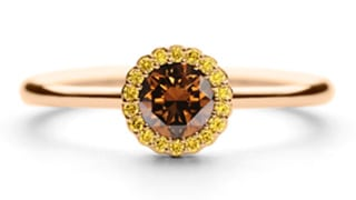 Cannele-33pt-Chocolate-Diamond-in-18ct-Rose-Gold-with-Yellow-diamond-surround
