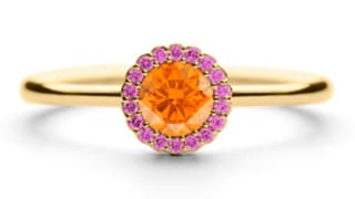 Cannele-33pt-Diamond-in-18ct-yellow-with-Spessartite-Garent-and-Pink-Spph-Surround