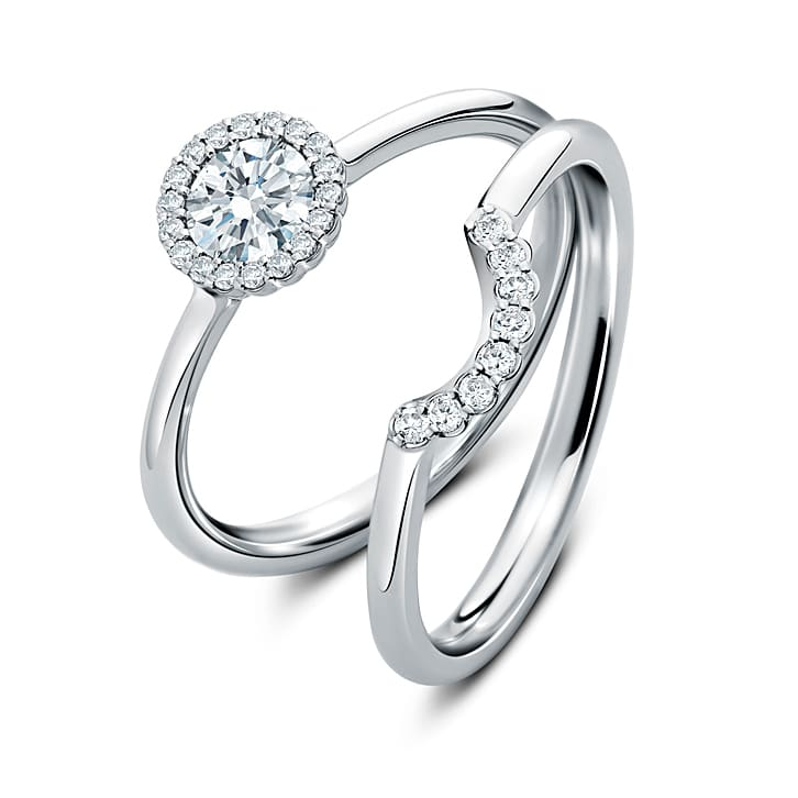 Cannelé diamond engagement & wedding ring